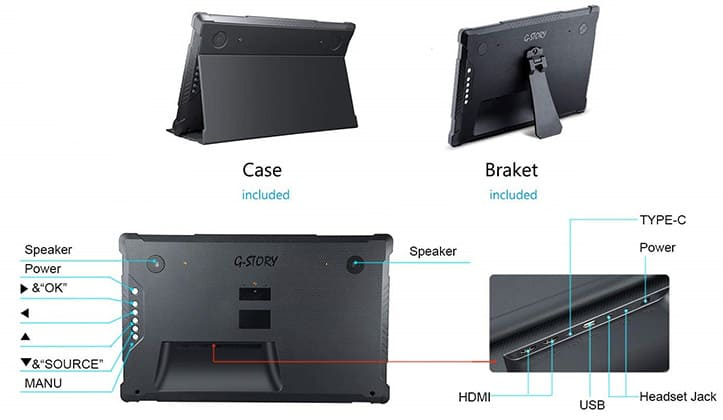 g-story portable gaming monitor back