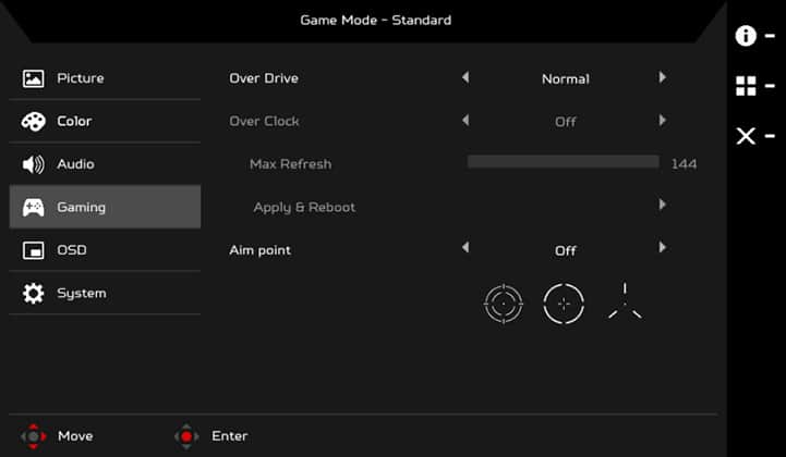 acer predator x35 on screen display menu