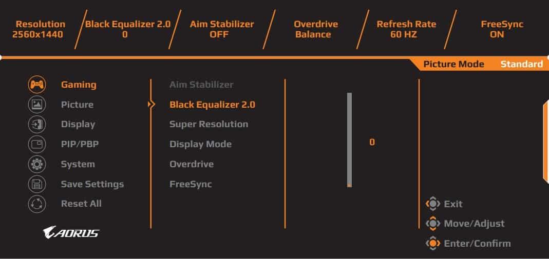 aorus fi27q p osd menu layout