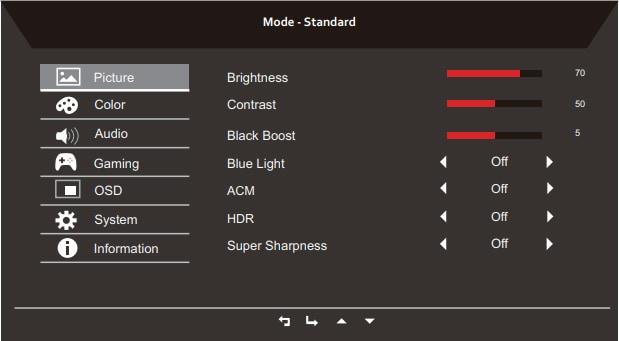 acer nitro xv340ck osd menu layout