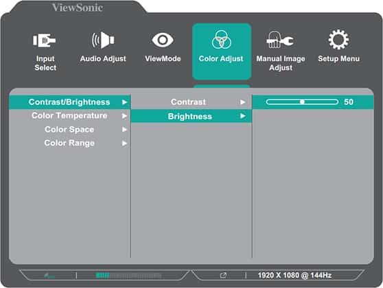 viewsonic xg2405 osd menu layout