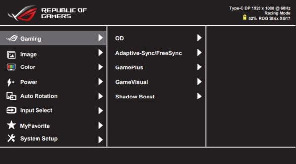 asus xg17ahp osd menu layout