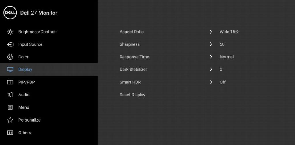 dell s2721qs osd menu layout