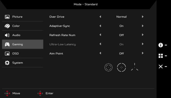 Acer XB323UGP On Screen Display Menu Layout