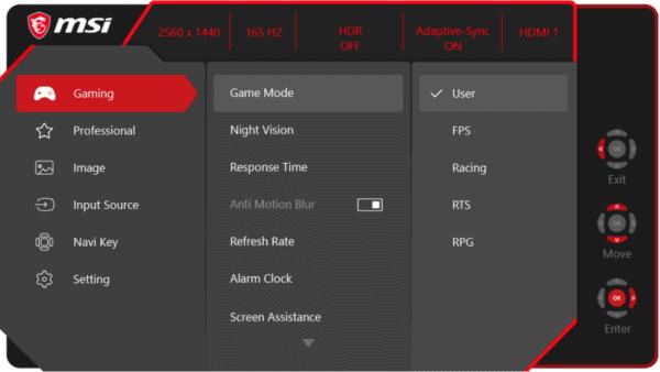 MSI Optix MAG274QRF QD Monitor OSD Menu