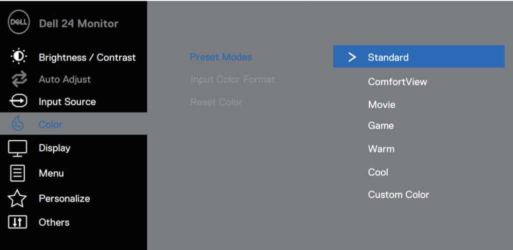 Dell SE2419HX Monitor OSD Menu Layout