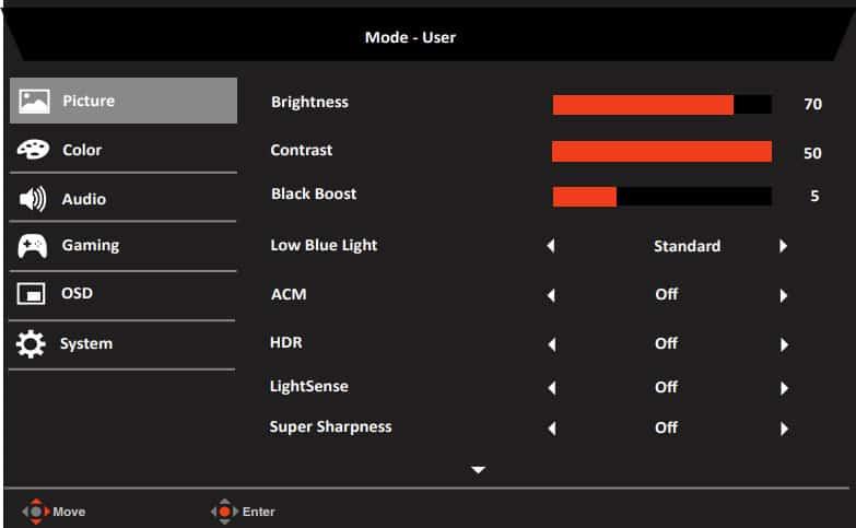 Acer XV282KKV OSD Menu Layout