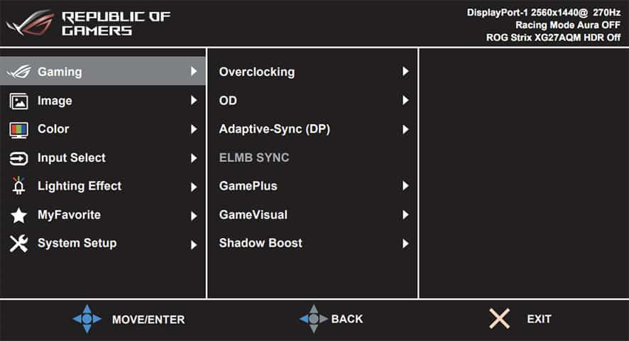 ASUS ROG Strix XG27AQM Monitor OSD Menu