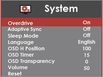 Sceptre E248W 19203R Monitor OSD Menu