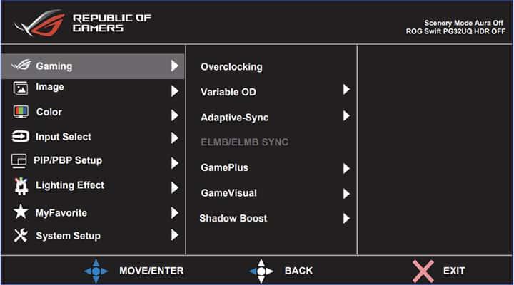 ASUS ROG Swift PG32UQ Monitor OSD Menu